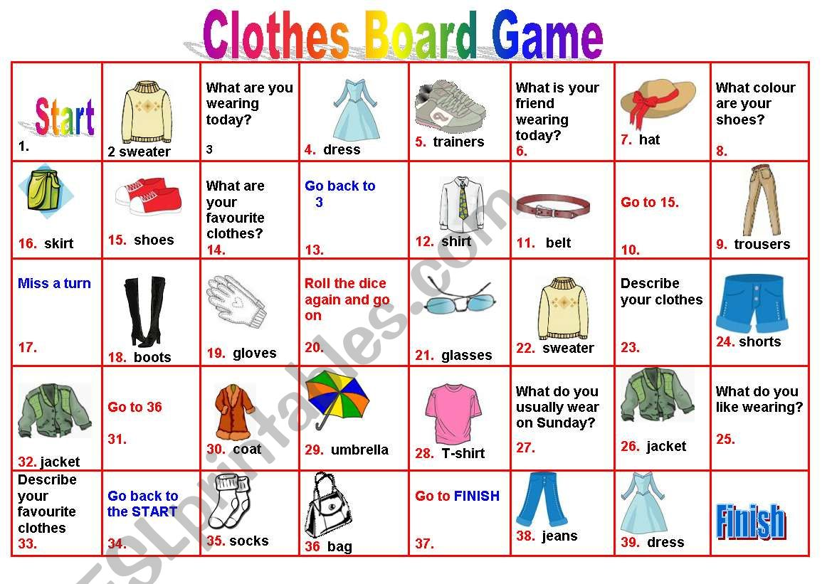 Clothes -Boardgame - ESL worksheet by petili