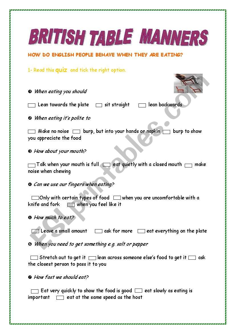 British table manners worksheet