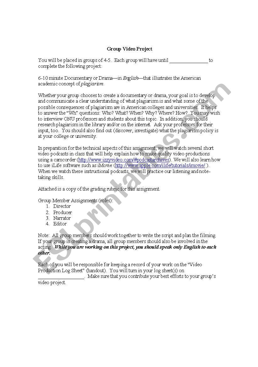 English worksheets: Group Video Project: Plagiarism