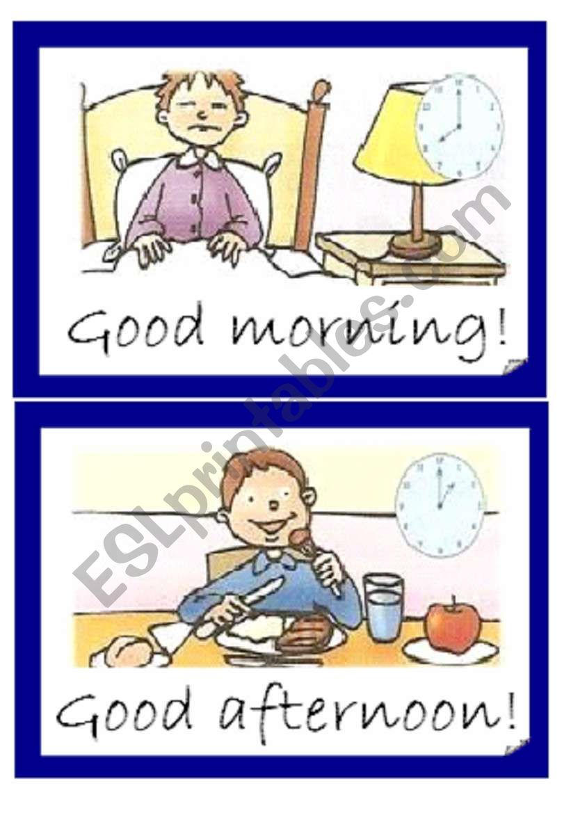 Greetings-parts of the day-  Flashcards