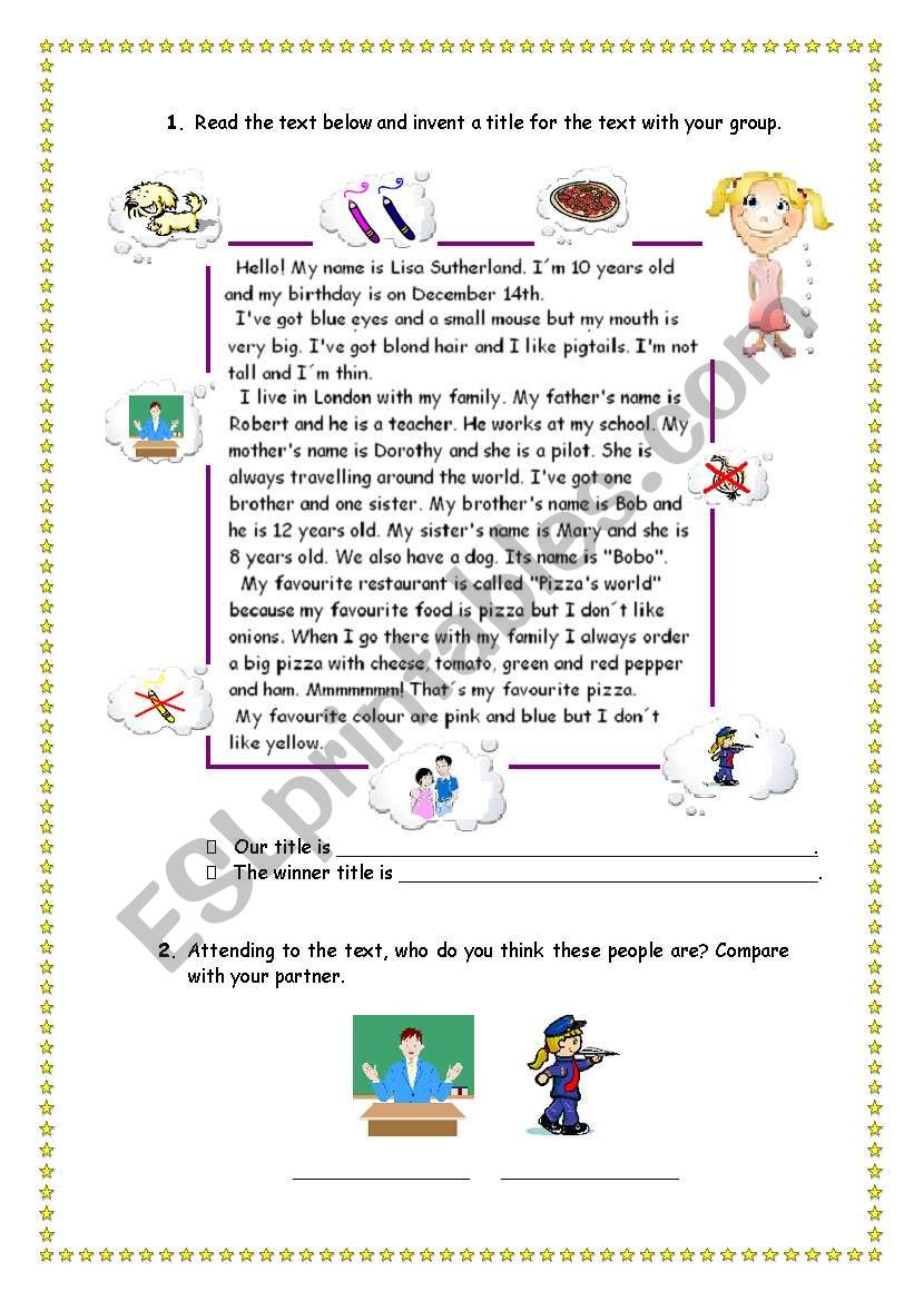 Reading and comprehension - personal information