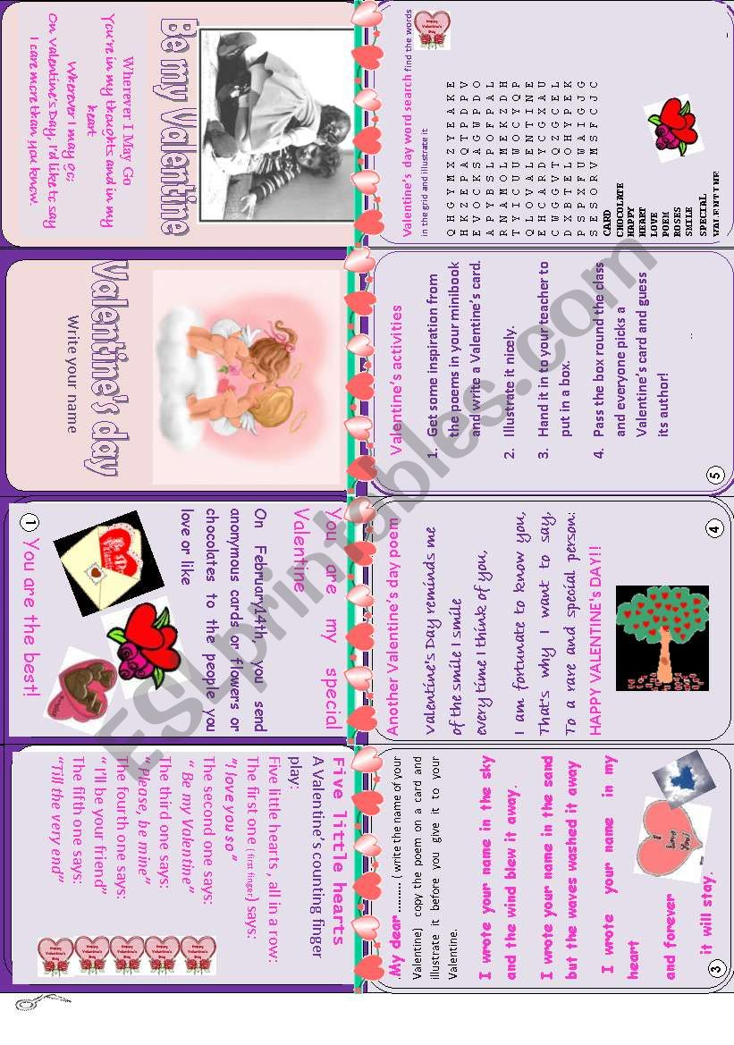 Valentine´s day minibook :poems, fingerplay poem,word search,written activity.