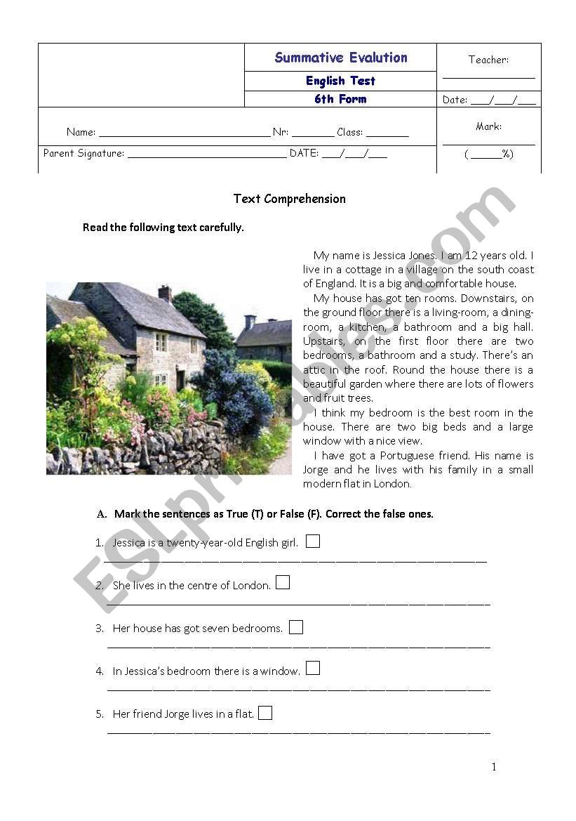 English 6th form test worksheet
