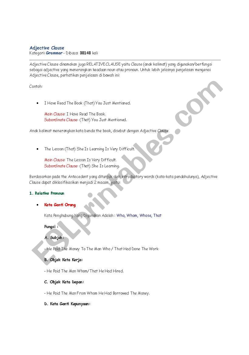 English worksheets: adjective clause