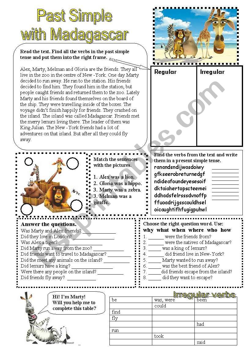 Past Simple with Madagascar. worksheet