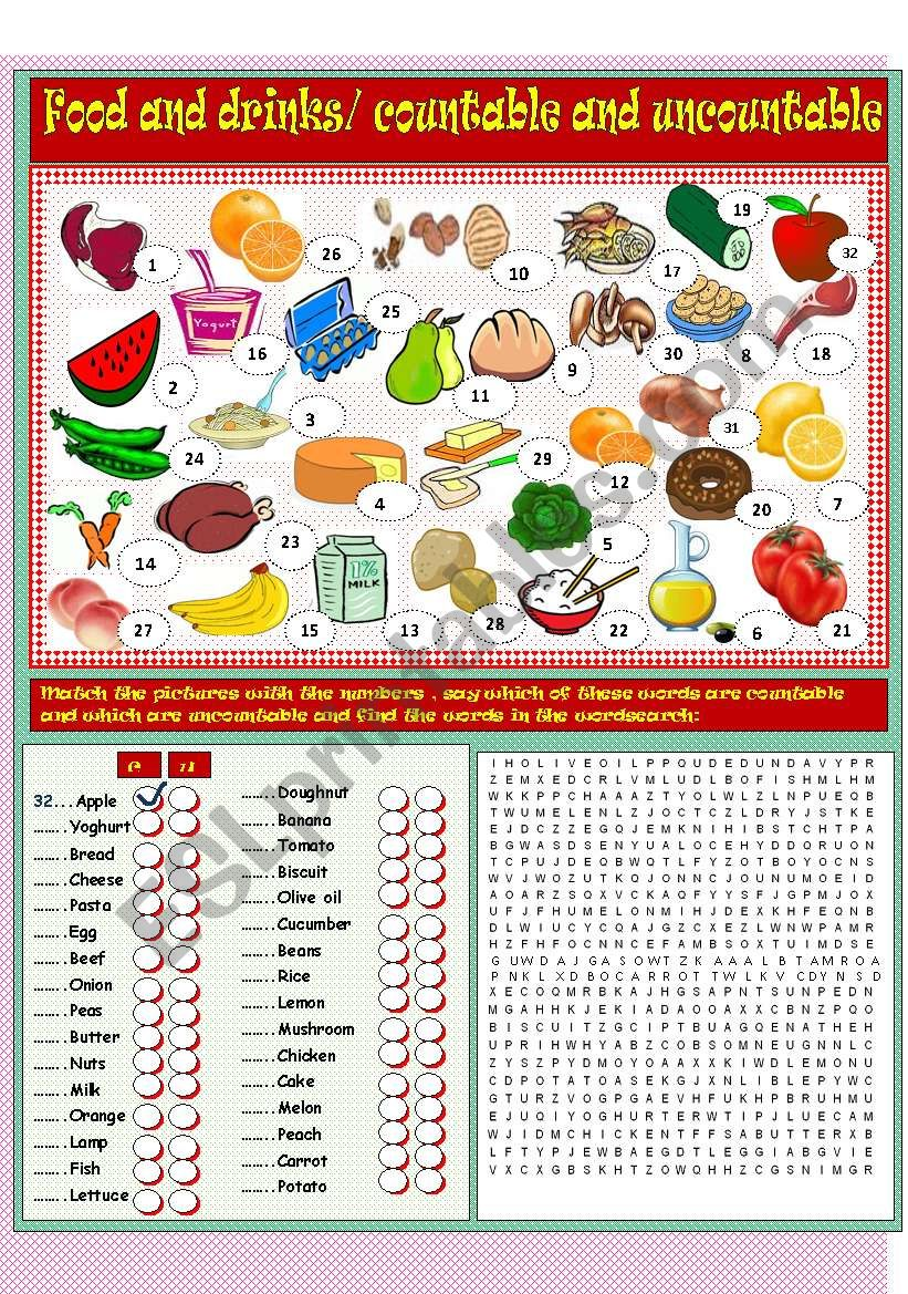 Food and drinks, countable and uncountable nouns