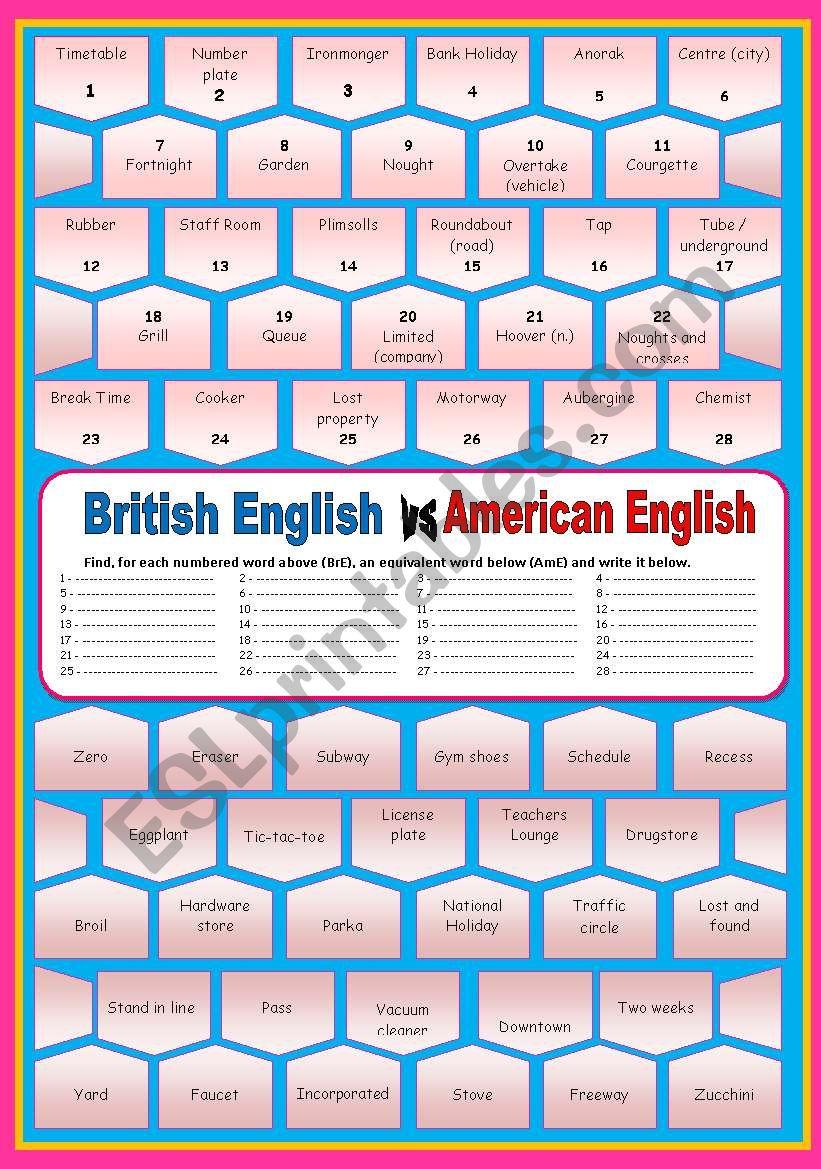 British English versus American English (with key)