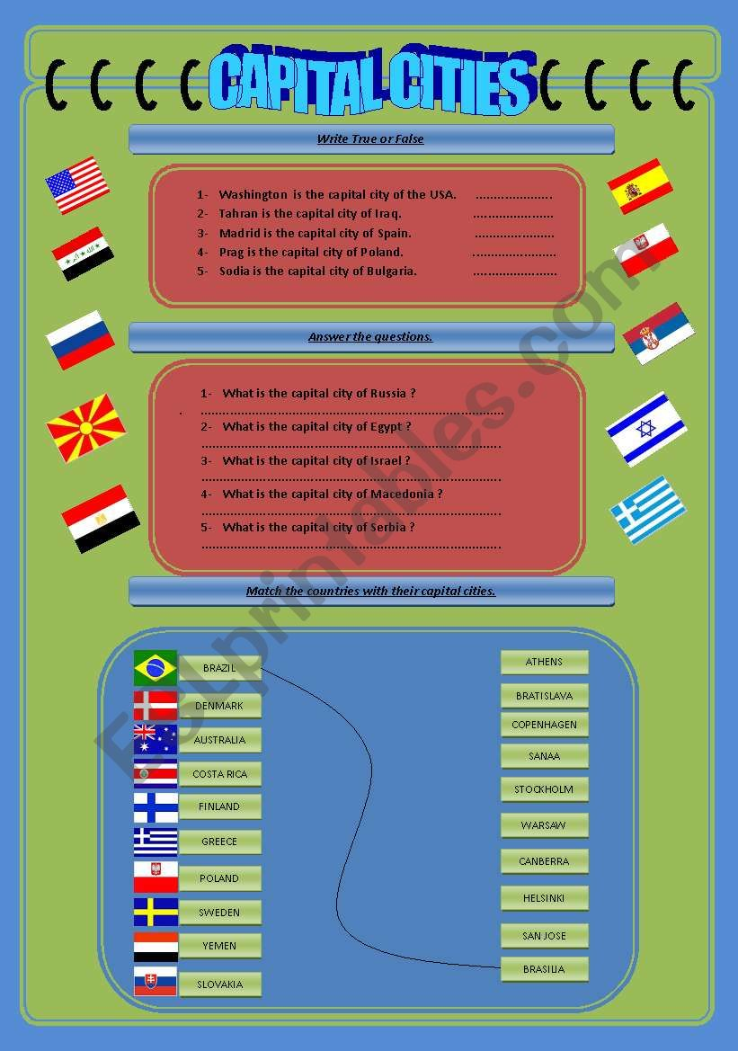 Countries and Capital Cities worksheet