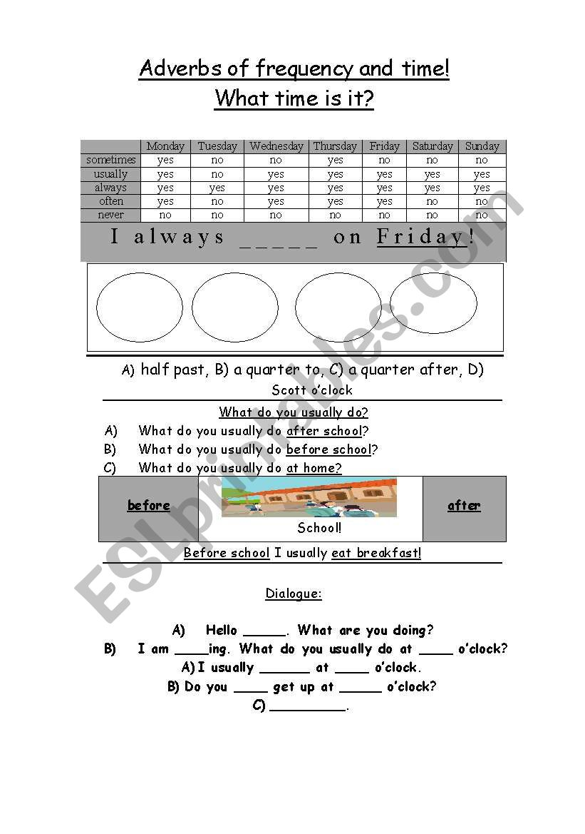 Time and adverbs worksheet