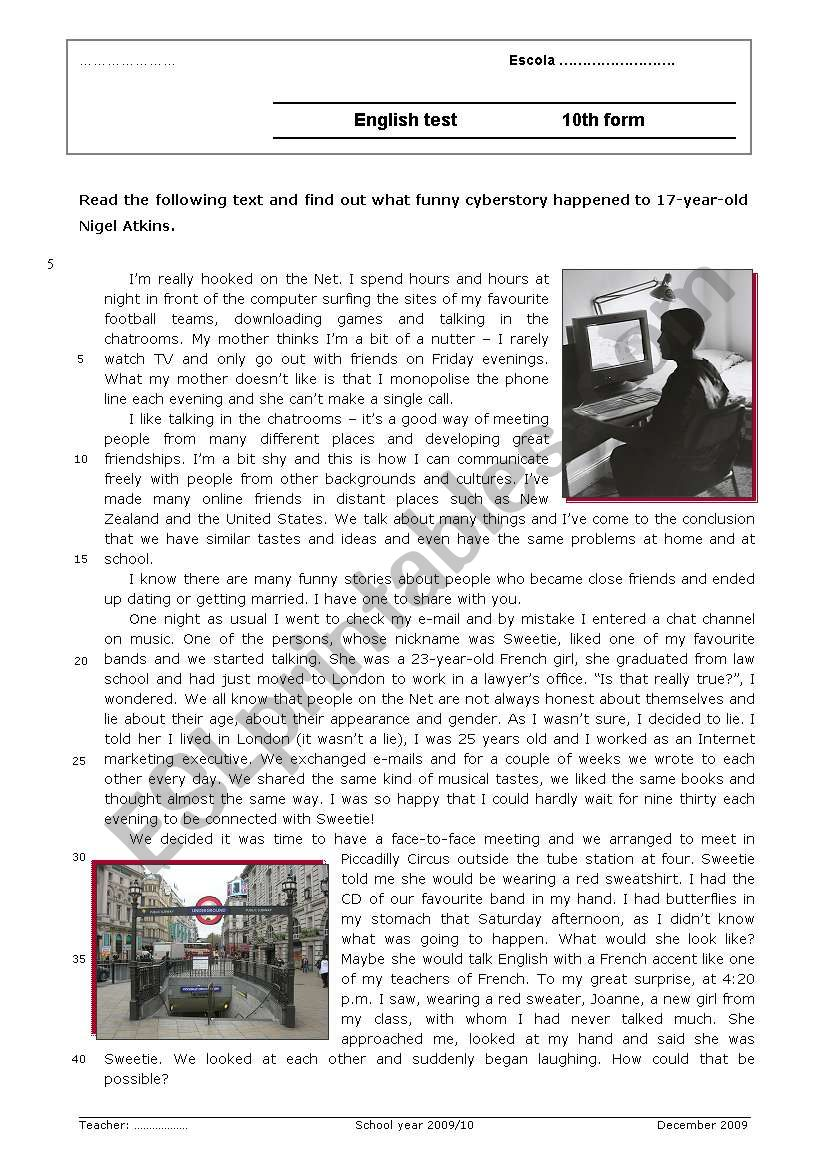 A funny cyberstory worksheet