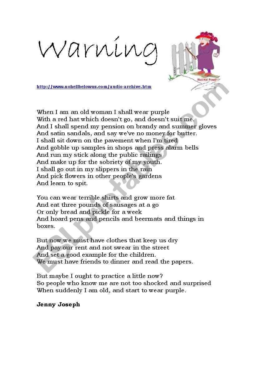 Warning, by Jenny Joseph worksheet