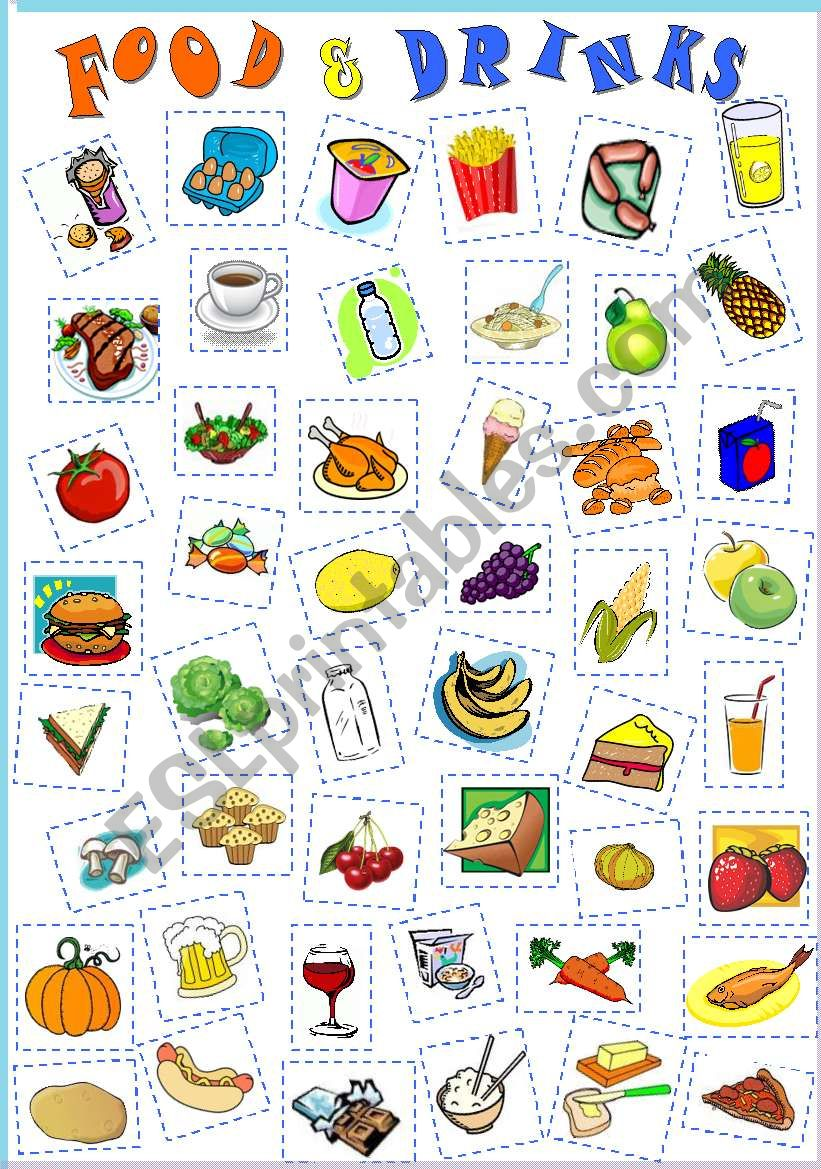 paste food cut vocabulary drinks revision worksheet worksheets english teaching esl words activities crafts resources fruits exercise exercises intermediate eslprintables