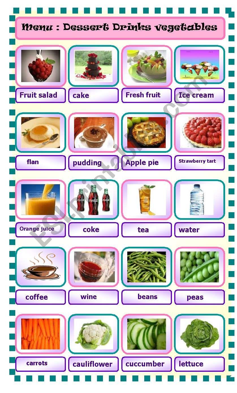 menu part 1 drinks dessert vegetables