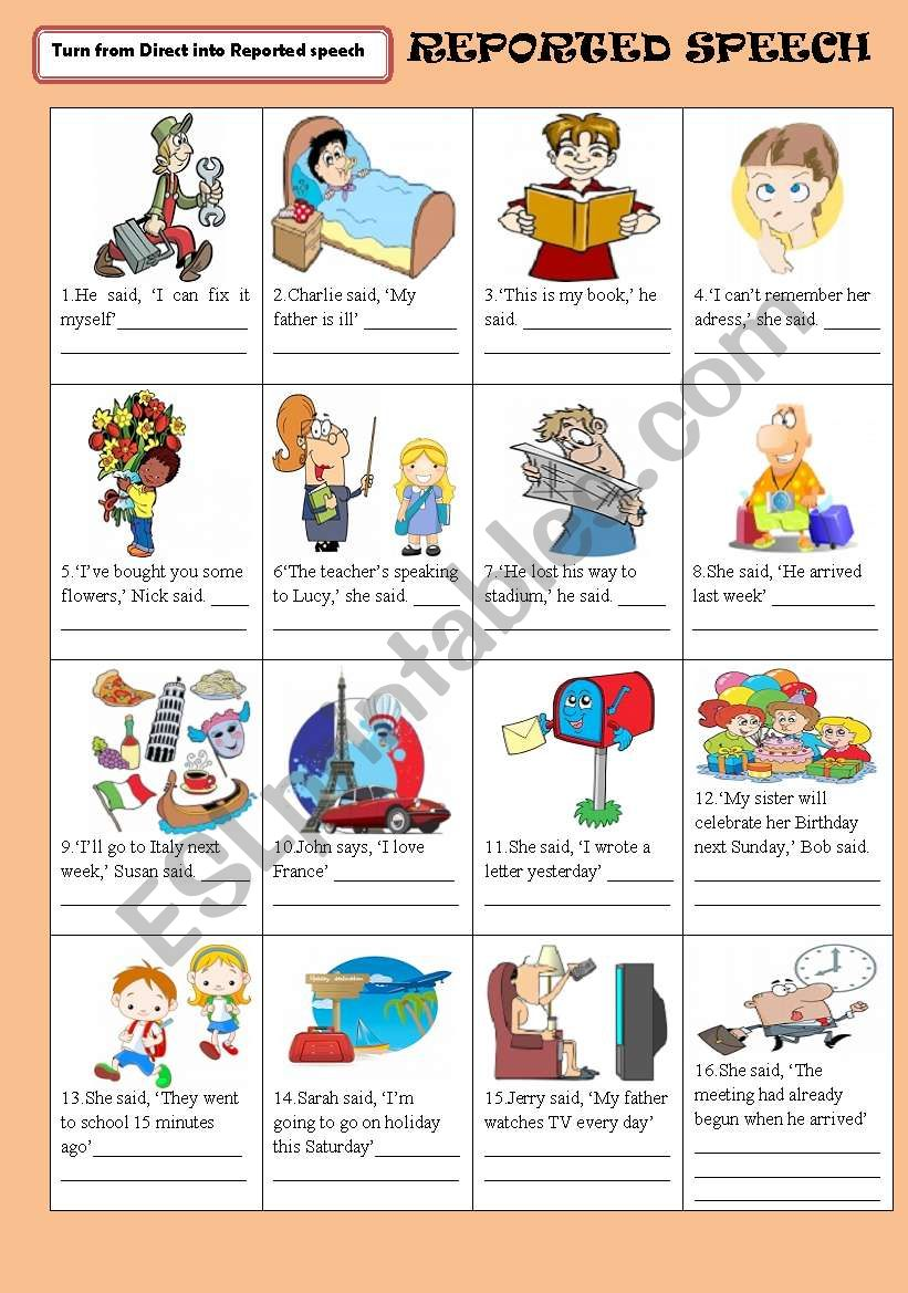 REPORTED (INDIRECT) SPEECH worksheet