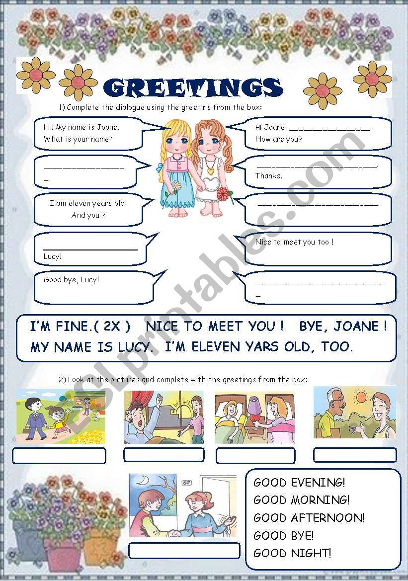 GREETINGS - ESL worksheet by laninha