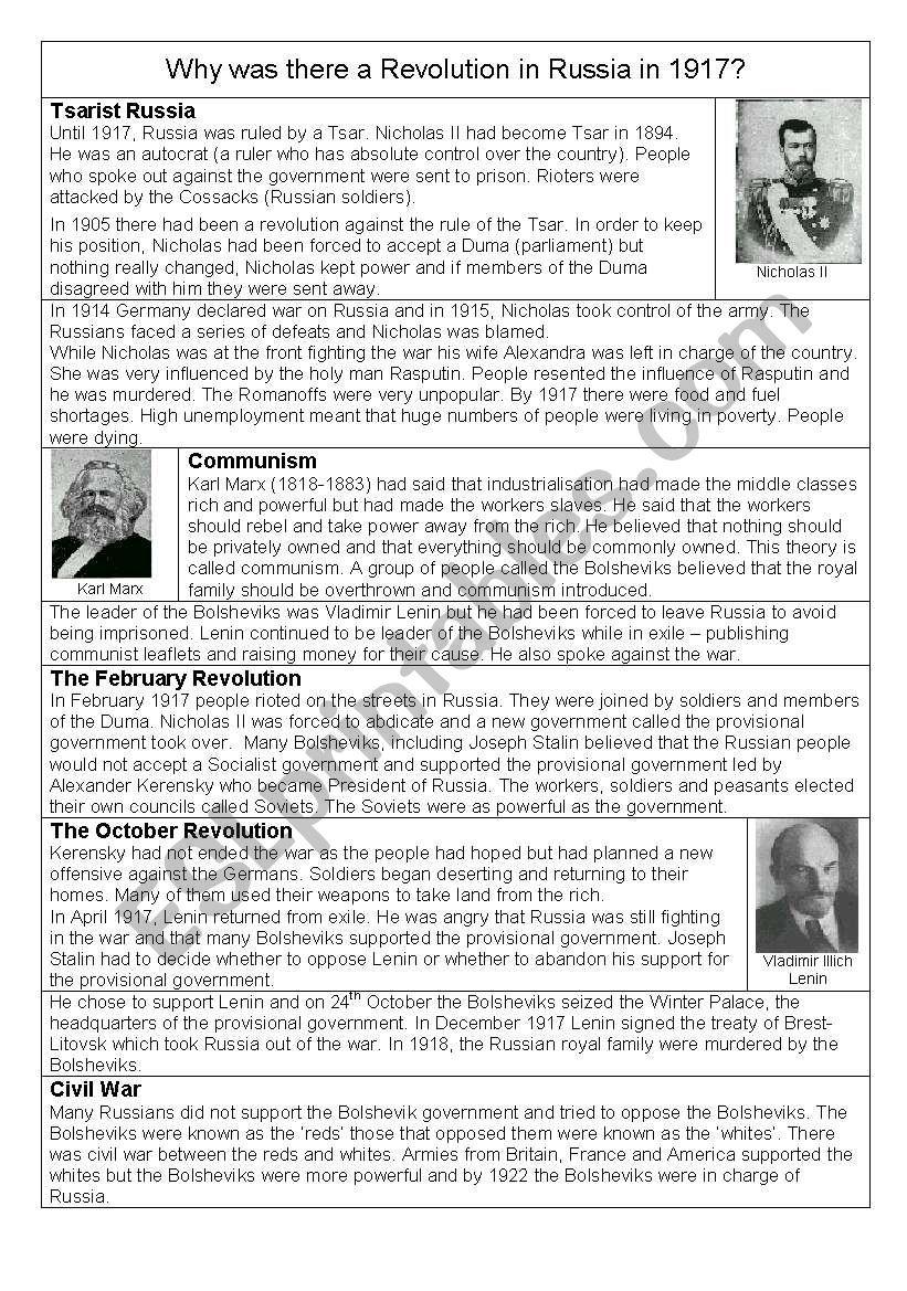 Russian Revolution   ESL worksheet by RebeccaE
