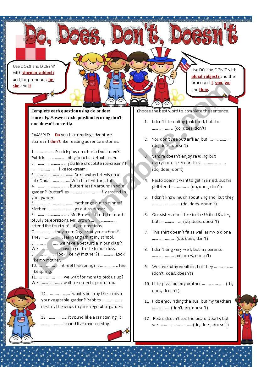 Do, Does, Don´t and Doesn´t worksheet