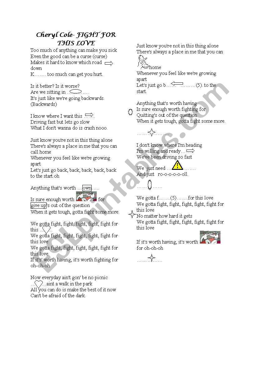 fight for this love -song activity-
