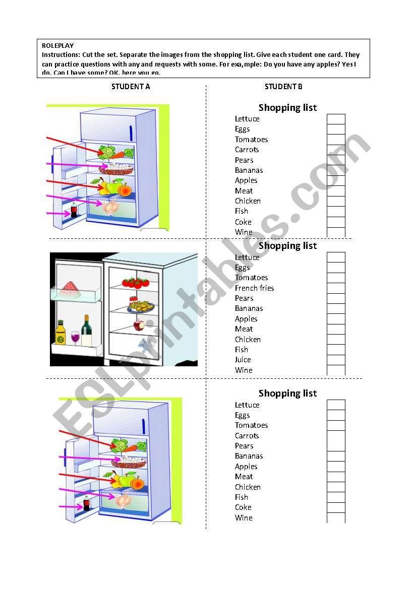 What´s in the fridge worksheet