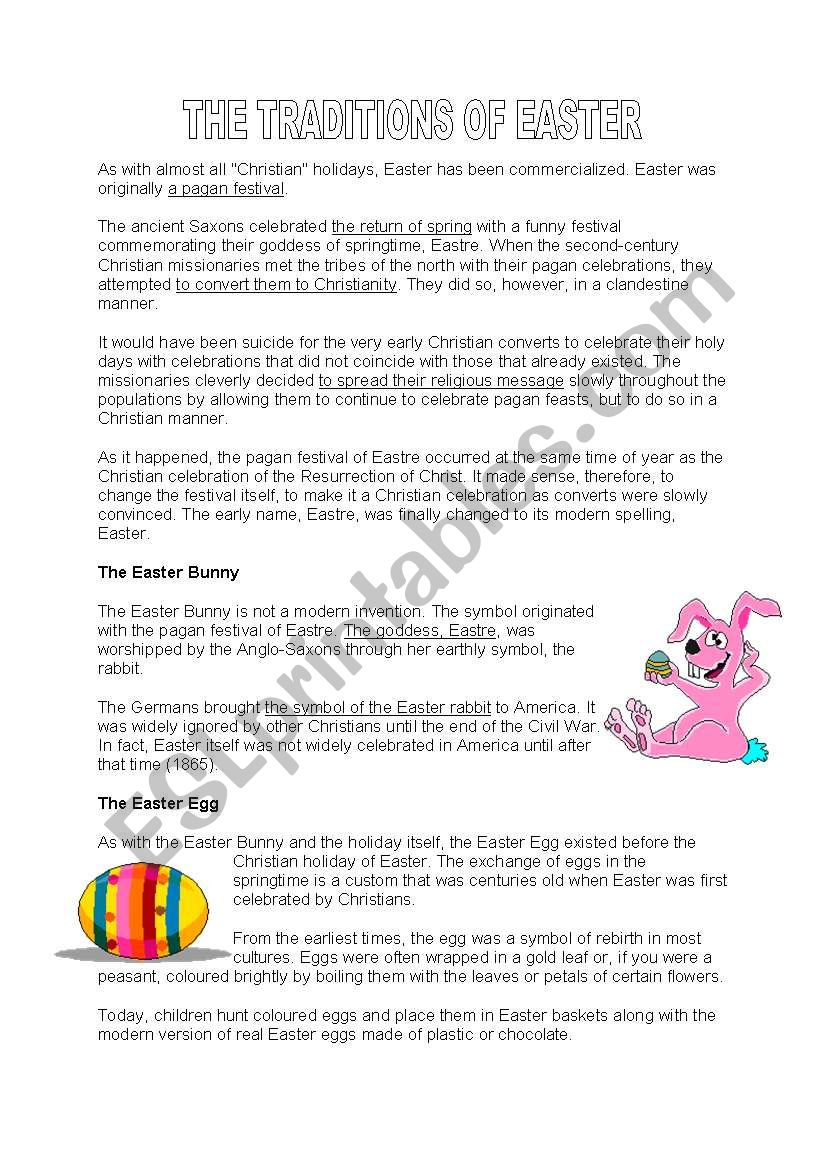 Easter traditions worksheet