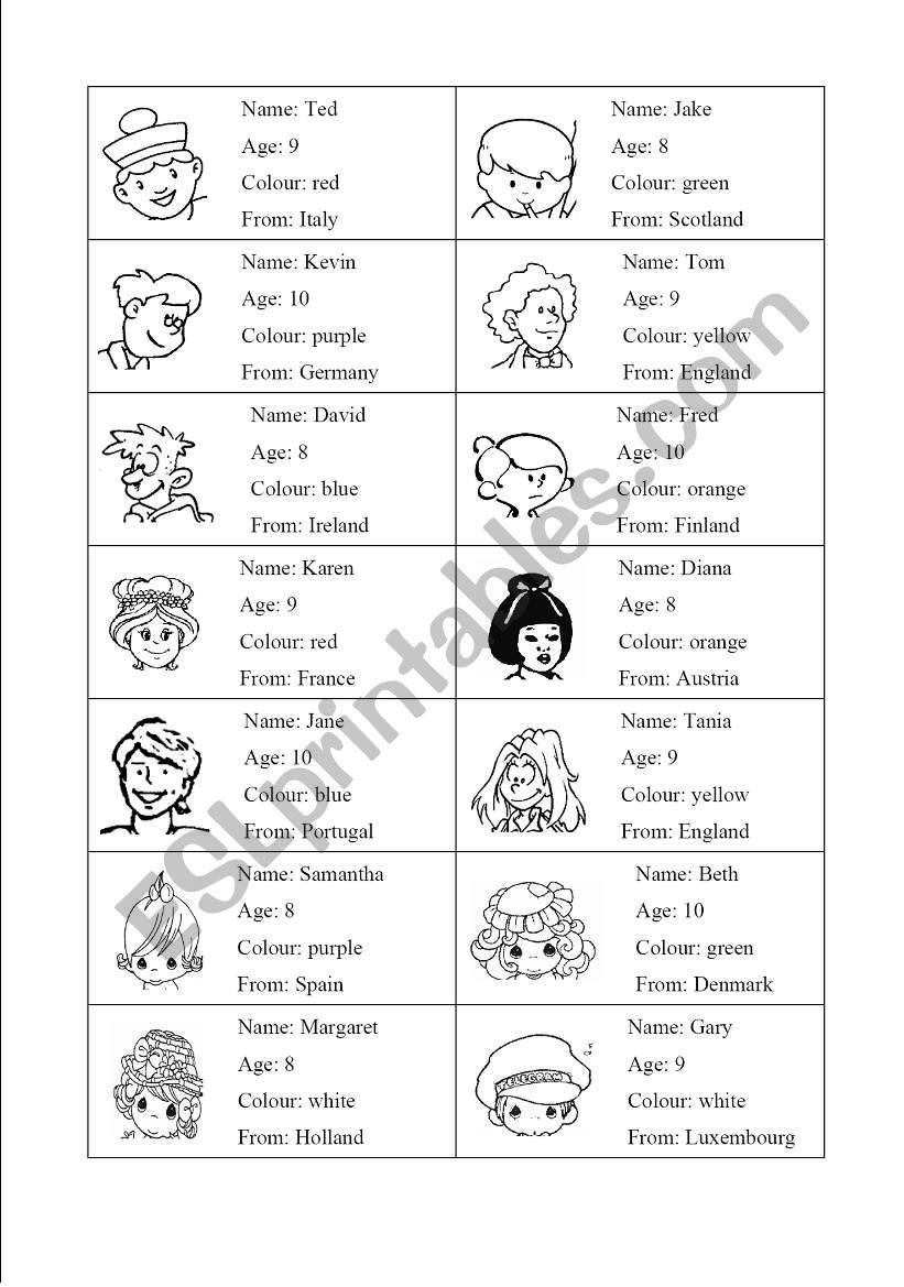 Characters game worksheet