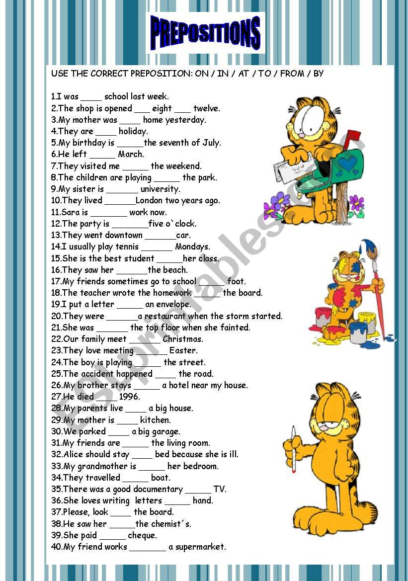 Prepositions  (40 sentences/ key included)