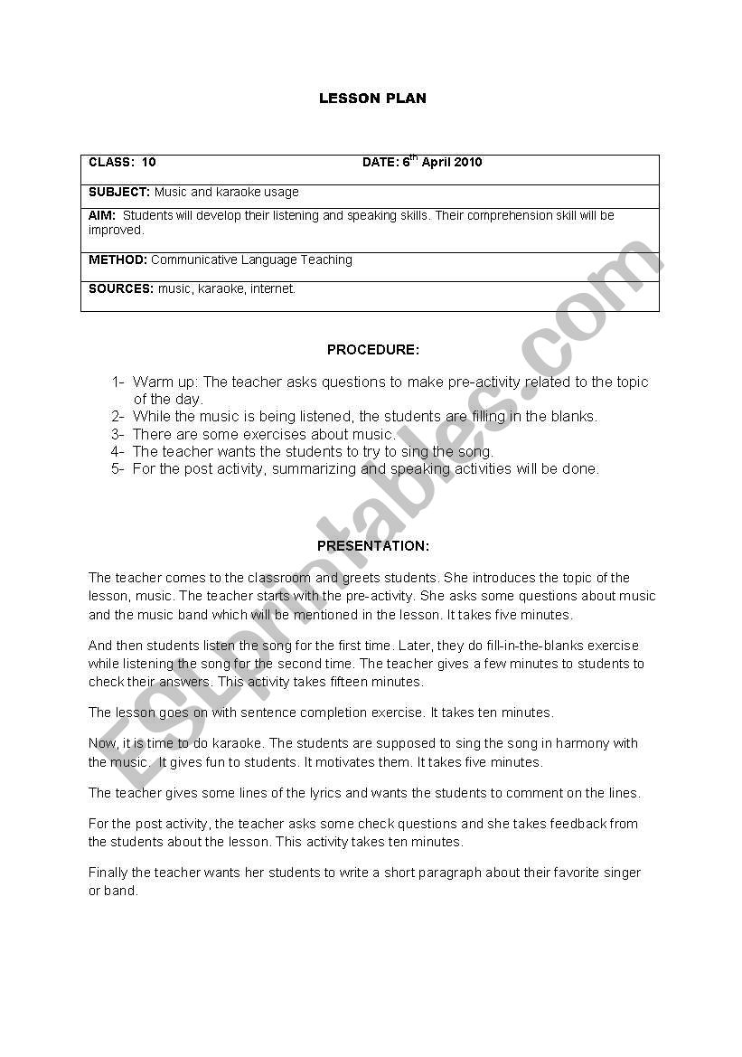 English worksheets: lesson plan with karaoke