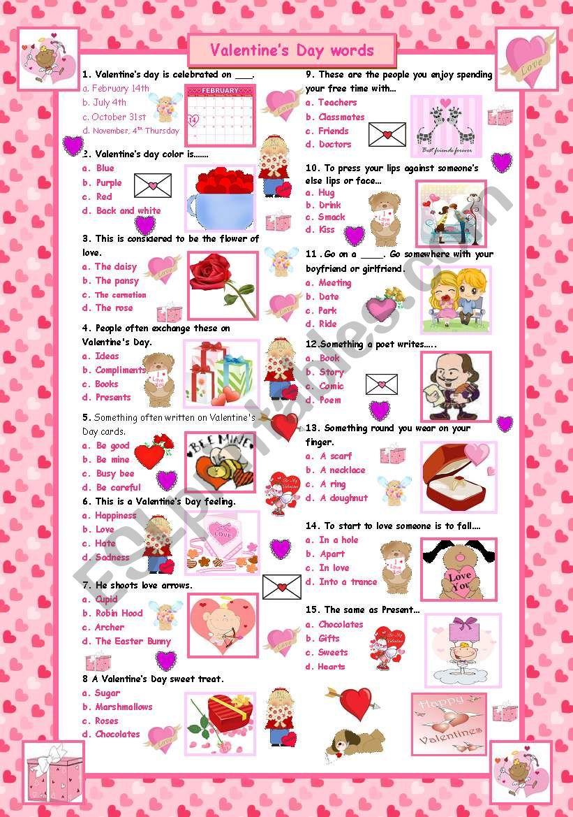 Valentine's Day words worksheet