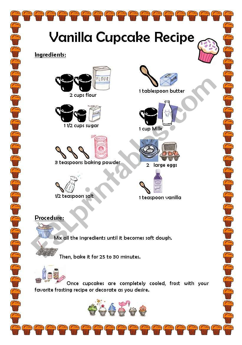 Worksheet Parts Of A Recipe : Cupcake recipe esl worksheet by fernandarbueno
