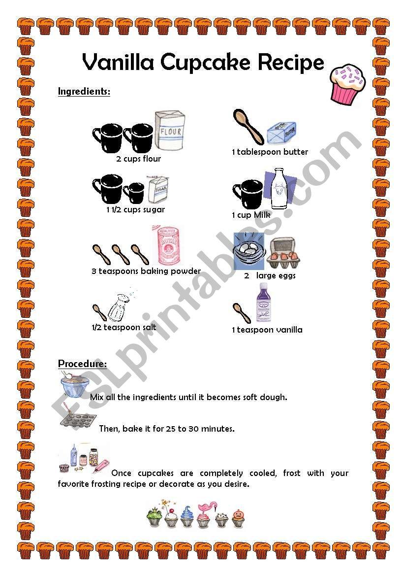 Cupcake Recipe Esl Worksheet By Fernandarbueno