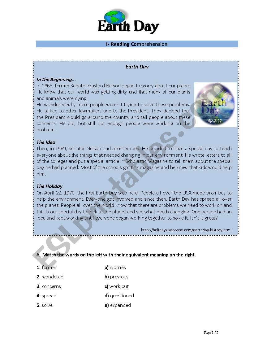 Environment: Earth Day - Reading + writing test