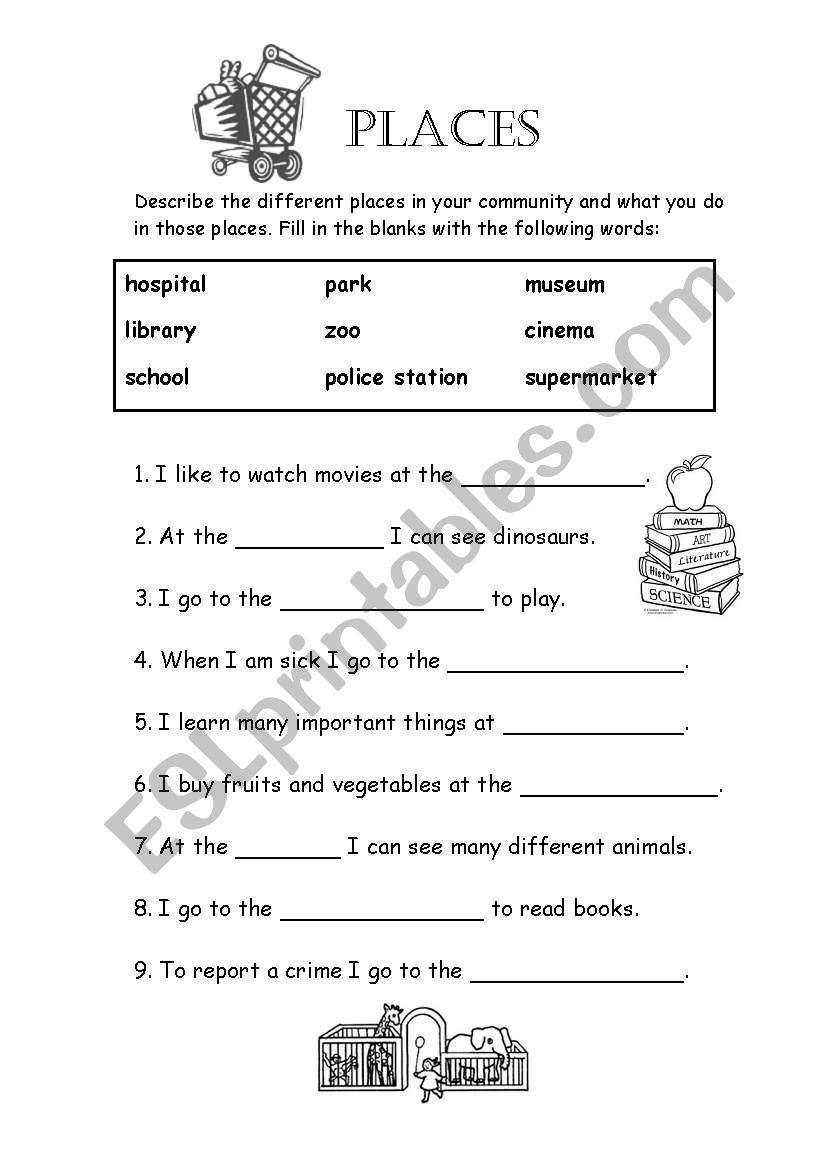 places in my community - ESL worksheet by tessaturtle