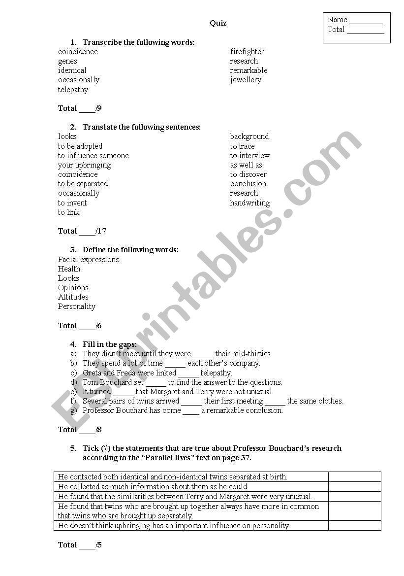 English worksheets: Quiz on pages 36-37 of the Cutting Edge