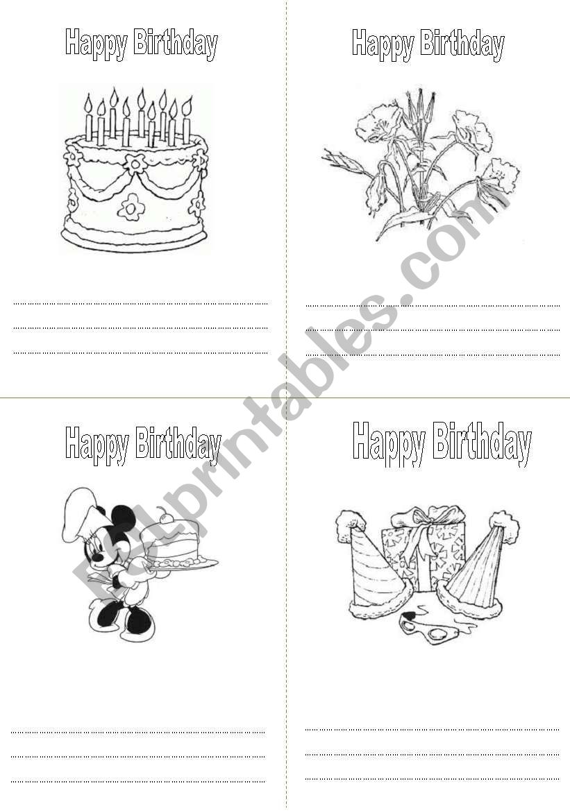 Birthday colouring card worksheet