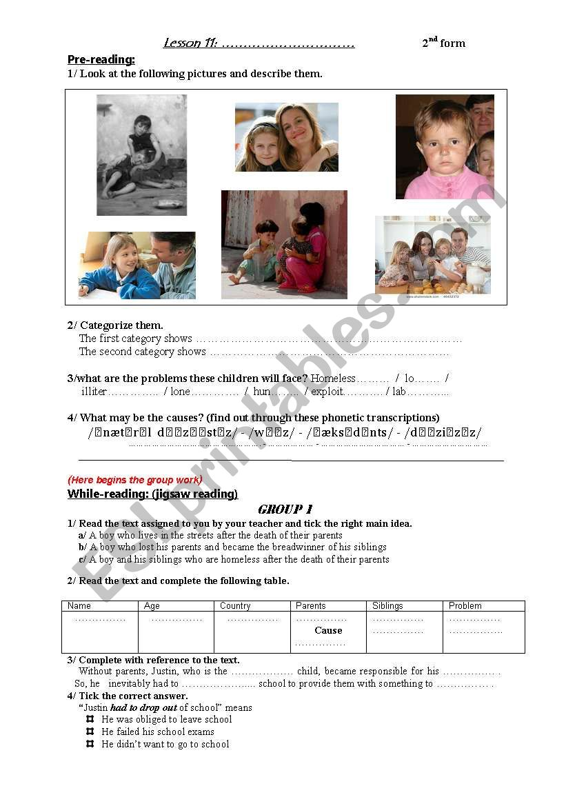 Life without Parents Handout worksheet