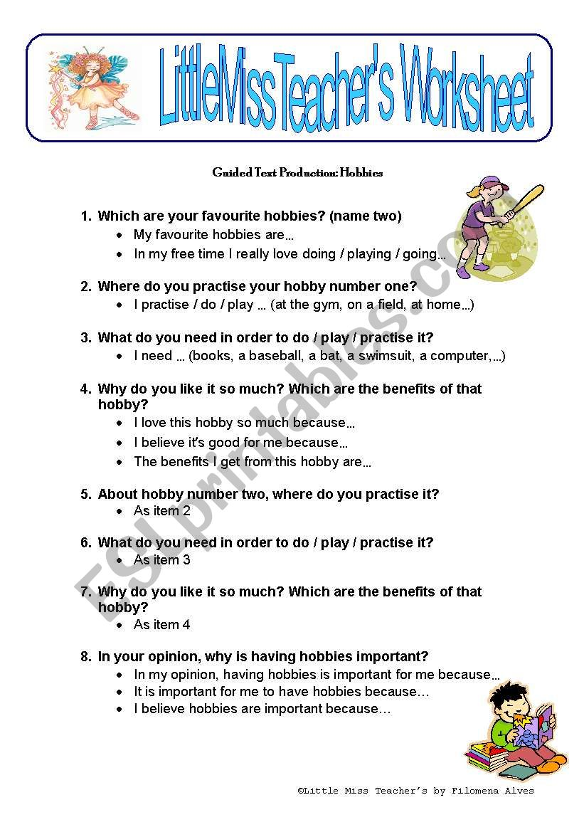 Hobbies - guided text production