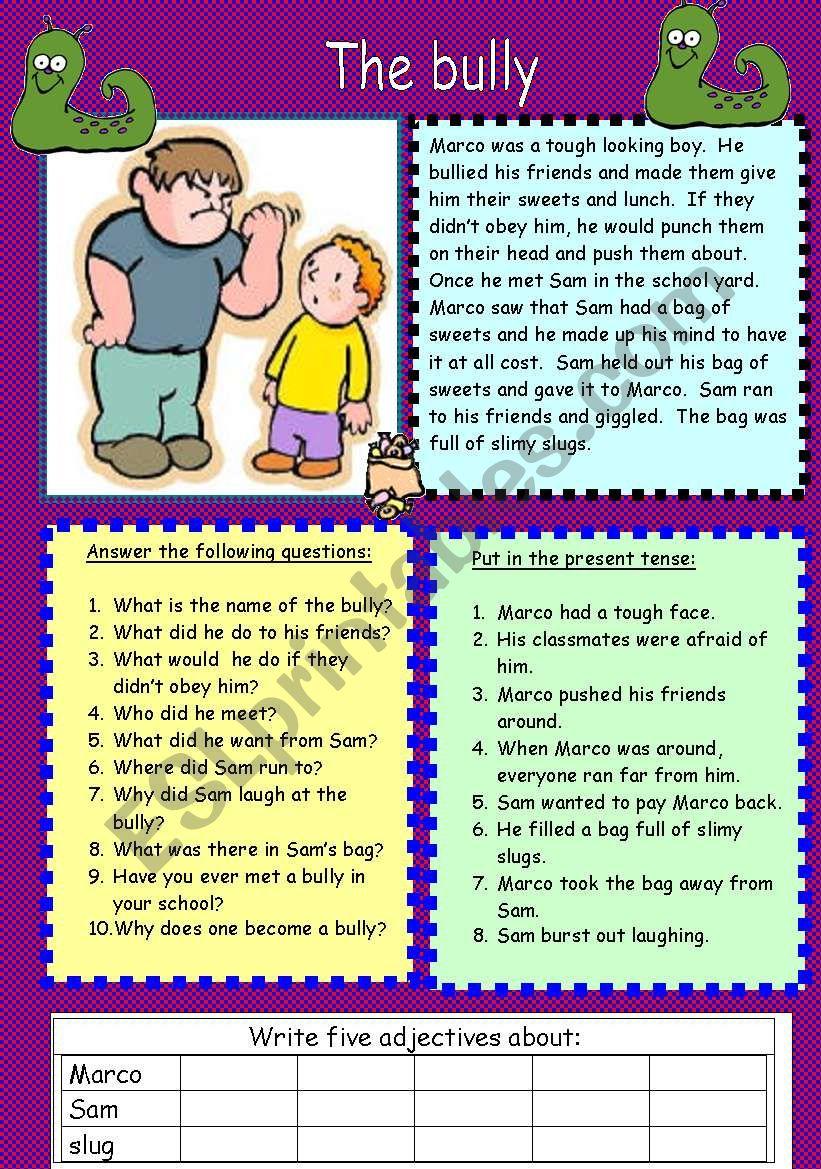 The bully worksheet