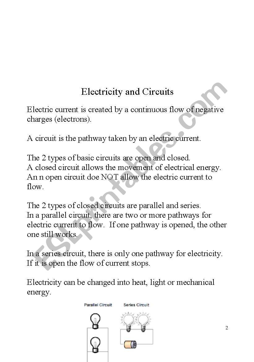 Study Guide For Science 4th Grade Electricity Part 3 8 Esl Series Circuit Worksheet By Joseant8a