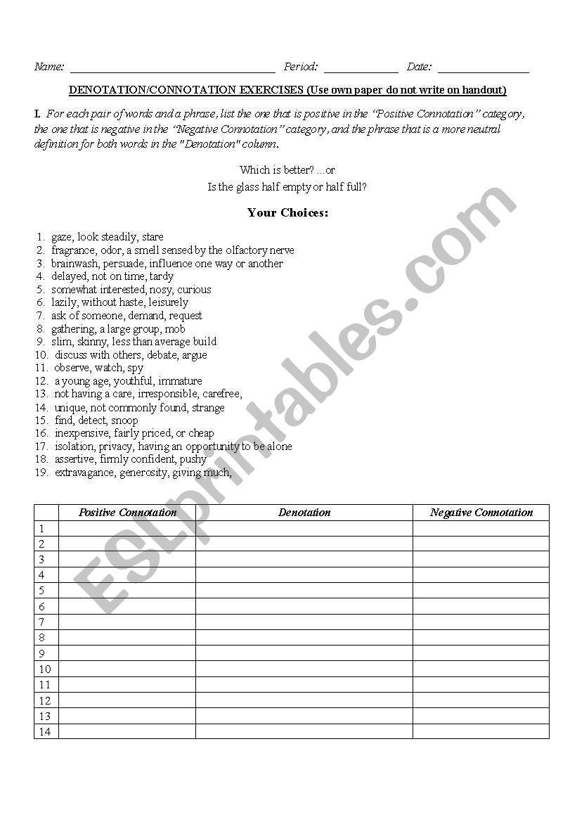 English Worksheets Connotation Denotation Worksheet