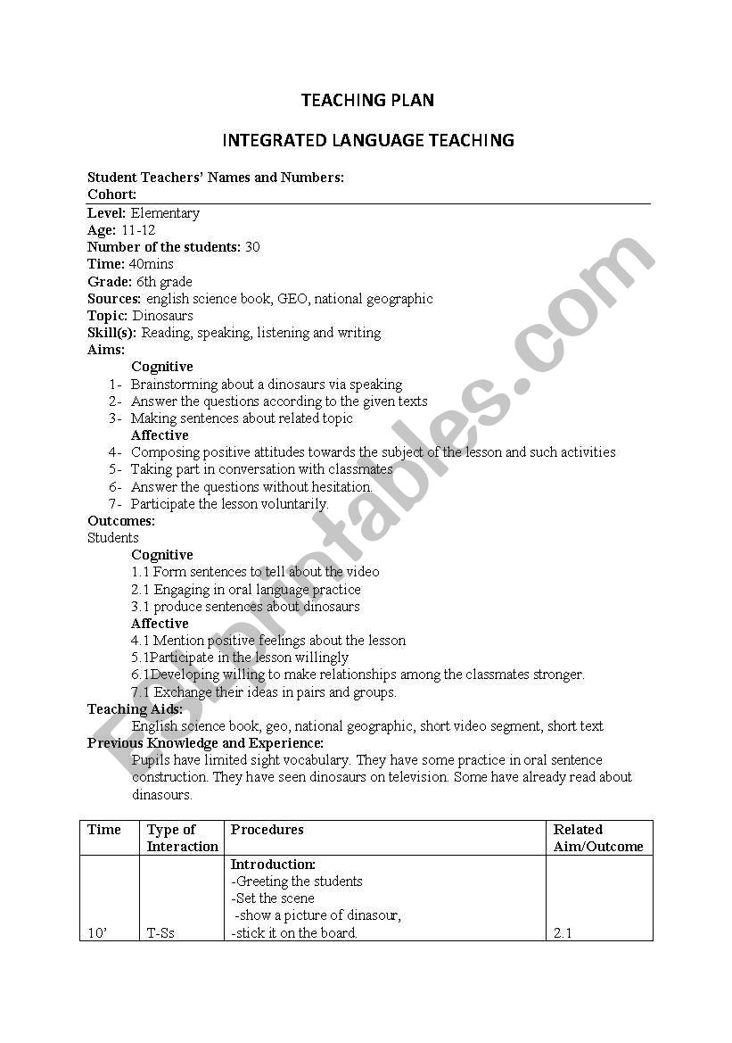 lesson plan (integrated language learning)
