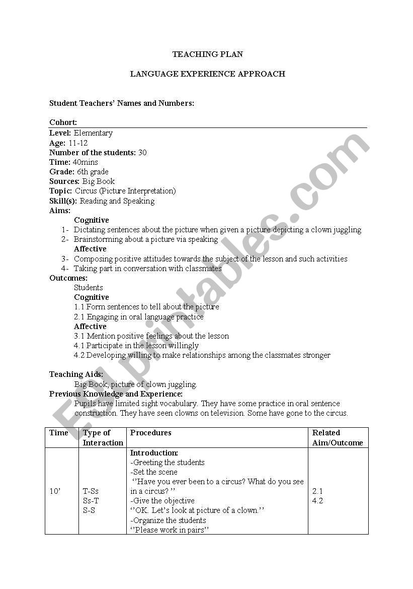 lesson plan (language experience approach)