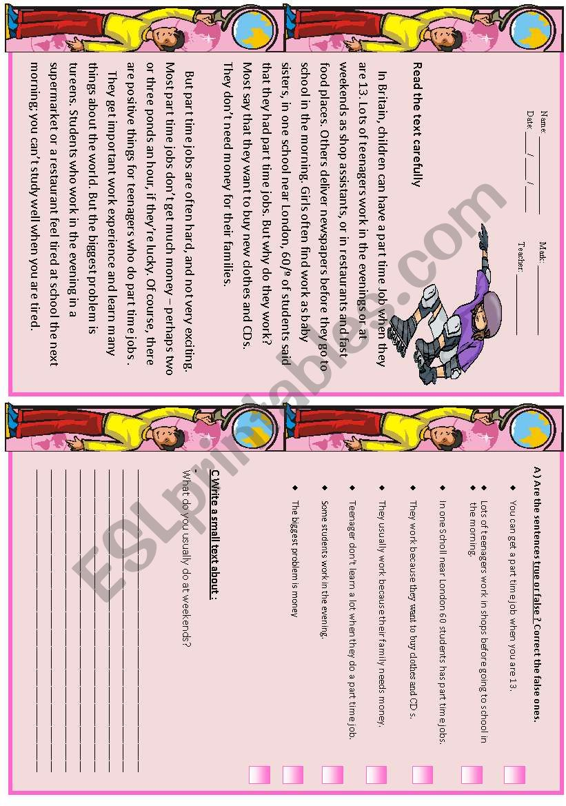 part time jobs test esl worksheet by vanda51. Black Bedroom Furniture Sets. Home Design Ideas