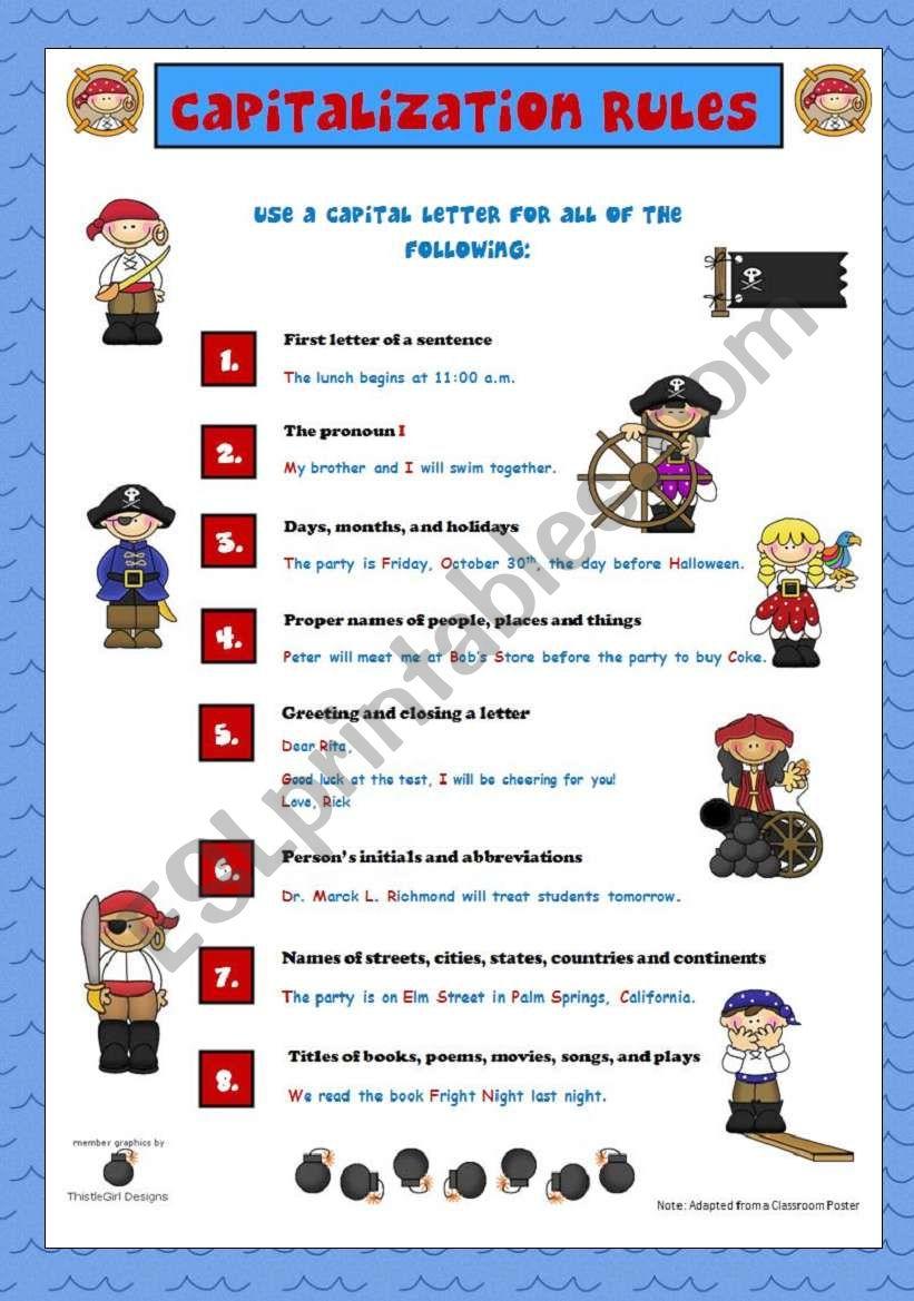 Capitalization rules esl worksheet by vanev capitalization rules worksheet m4hsunfo