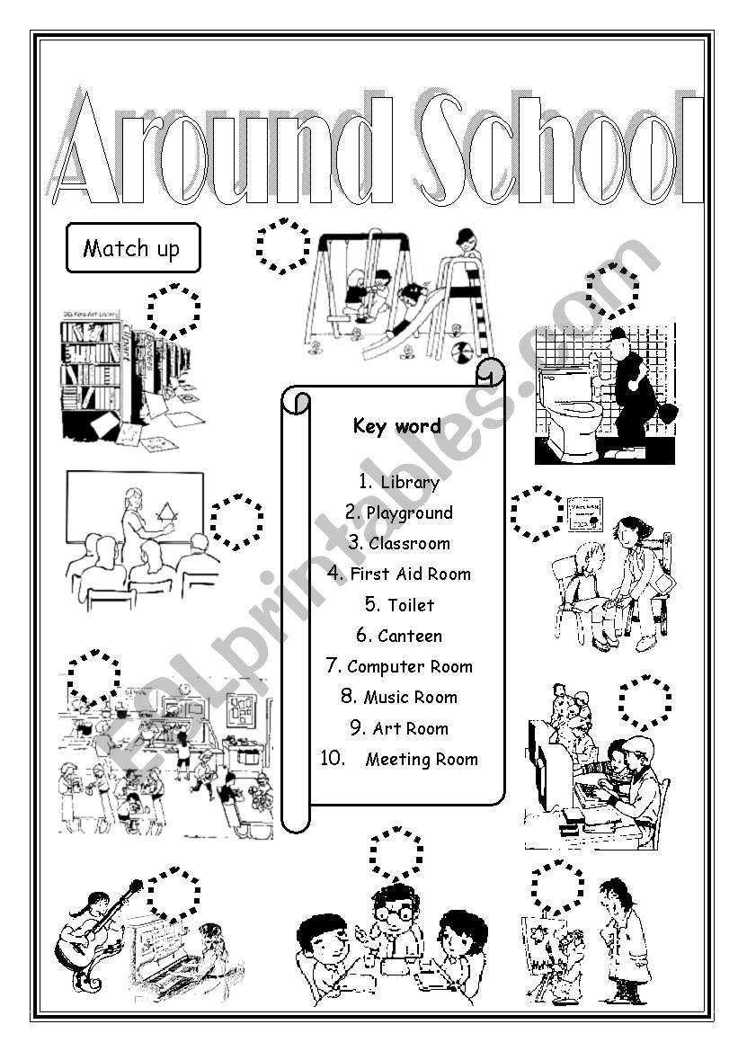 - Around School - ESL Worksheet By Saifonduan