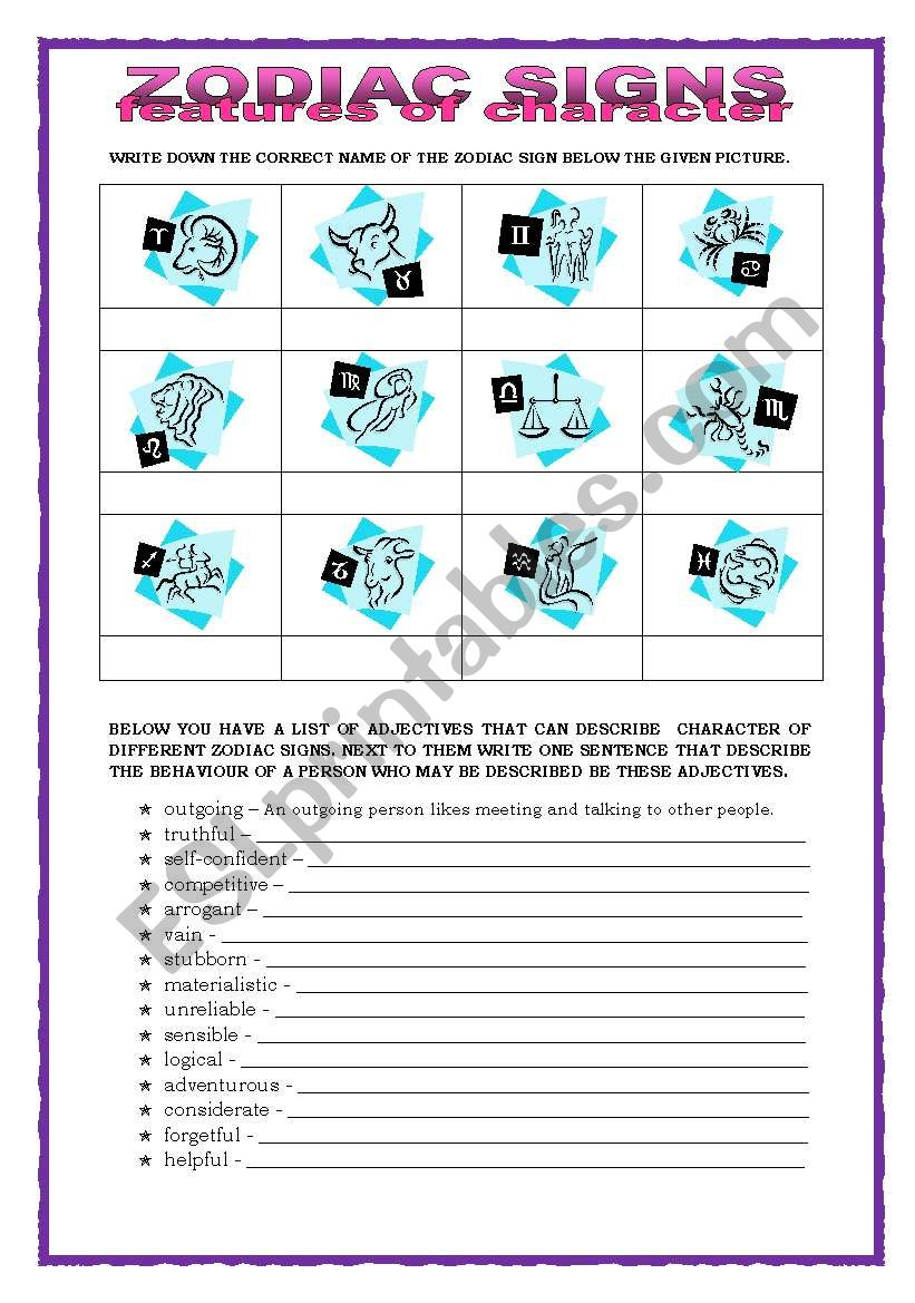 ZODIAC SIGNS - ESL worksheet by Keyeyti