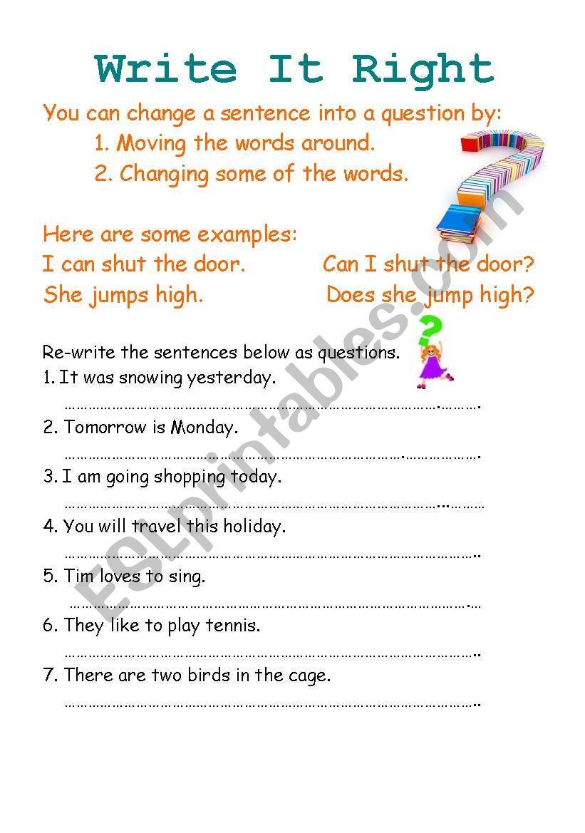 Write it right worksheet