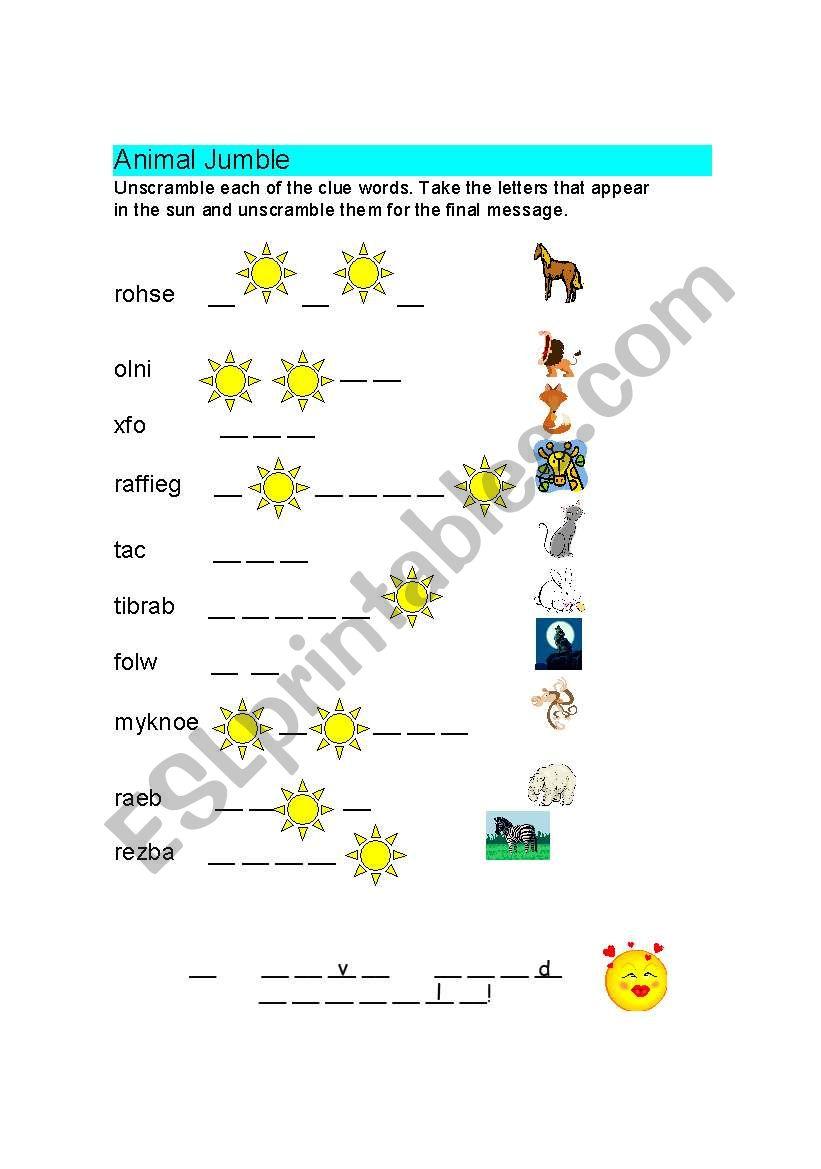 Animals Jumble worksheet