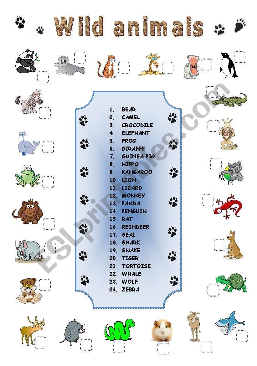 WILD ANIMALS MATCHING - ESL worksheet by lamejor