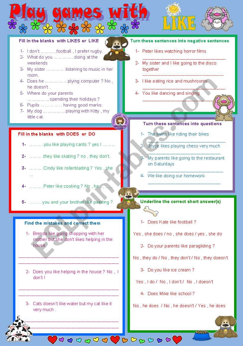 PLAY GAMES WITH LIKE  worksheet