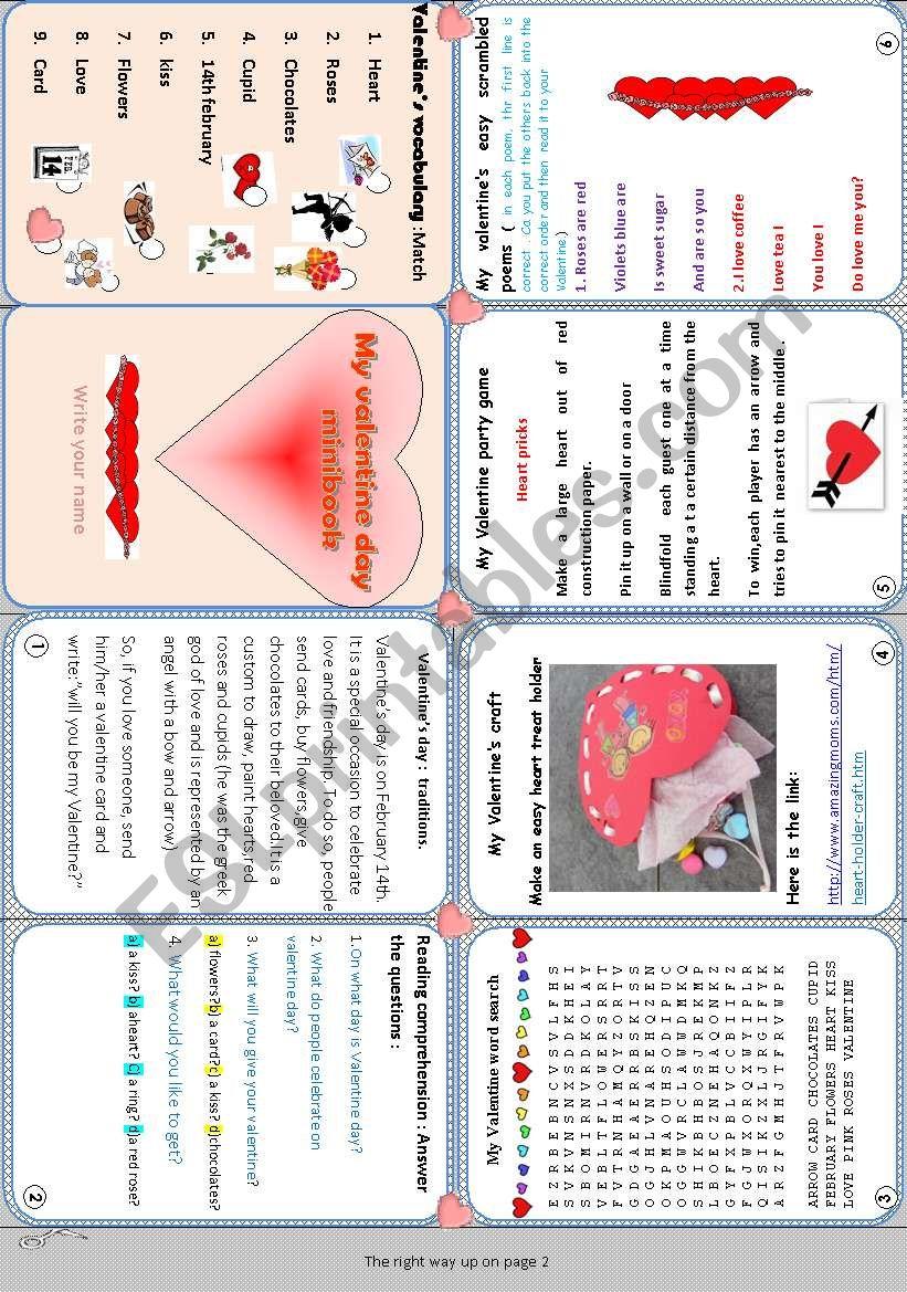 My valentine day minibook n°2 worksheet